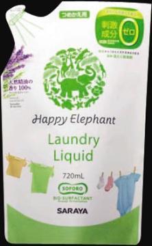 サラヤハッピーエレファント液体洗たく用洗剤つめかえ用720ml(洗濯洗剤詰替)(4973512260339)