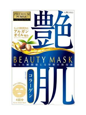 【品薄】ウテナ プレミアムプレサ PREMIUM PUReSA ビューティーマスク コラーゲン 4枚入り ( 美容 フェイスマスク ) ( 4901234299511 )