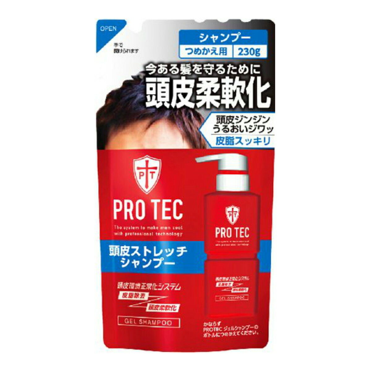 【送料無料・まとめ買い×5】ライオン PRO TEC ( プロテク ) 頭皮ストレッチ シャンプー つめかえ用 230g ×5点セット ( 4903301231189 )