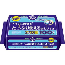 【送料込】【介護用品特売】日本製紙クレシア アクティ トイレに流せるおしりふき 100枚入 無香料 ウェットタイプ 片手でらくらく!ストッパー付き×24点セット まとめ買い特価!ケース販売 ( 4901750806217 )