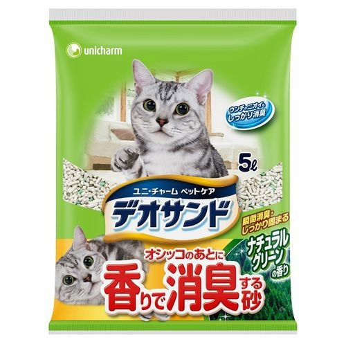 ユニ・チャームペットケア デオサンド オシッコのあとに香りで消臭する砂 ナチュラルグリーンの香り 5L (ペット用品 猫砂)( 4520699651599 )