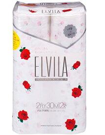 四国特紙 エルビラ フレグランス トイレットペーパー バラの香り 12ロール ダブル(トイレットロール12RW)( 4901733320051 )