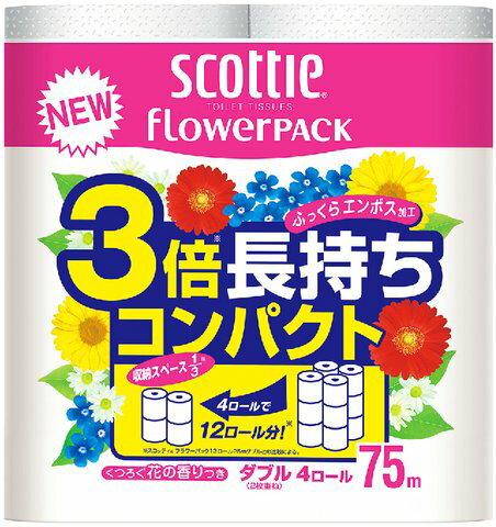【送料無料・まとめ買い×5】日本製紙クレシア スコッティ フラワーパック 3倍長持ち ダブル ( 内容量:4巻 ) ×5点セット ( 4901750227302 )