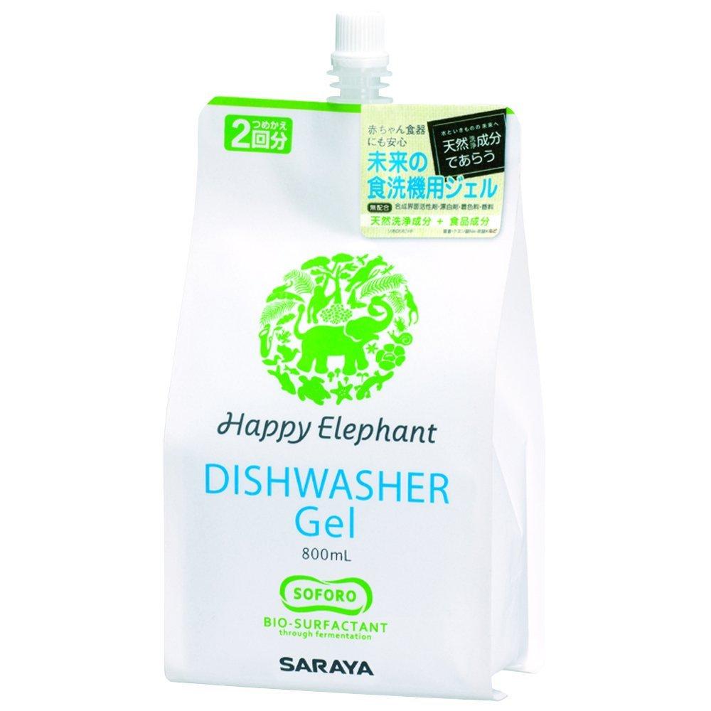 サラヤ ハッピーエレファント 食器洗い機用ジェル つめかえ用 800ml 合成界面活性剤、漂白剤、着色料、香料無配合 ( 4973512260216 )