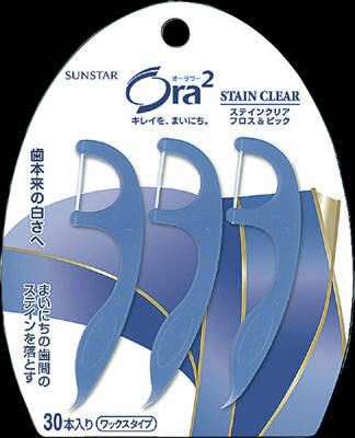 サンスター オーラ2 ステインクリア フロス&ピック 30本入 (デンタルフロス)( 4901616212404 )