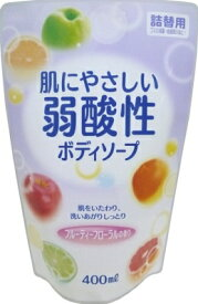 ロケット石鹸 弱酸性ボディソープ フルーティーフローラルの香り 詰替用 400ml ( 4571113800888 )