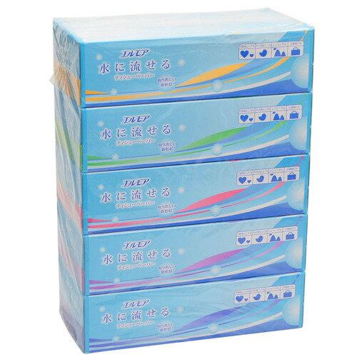 【送料無料・まとめ買い×5】【5箱パック】カミ商事 エルモア 水に流せるティシューペーパー 180W×5箱入りパック ( トイレに流せるティッシュ ) ×5点セット ( 4971633002913 )