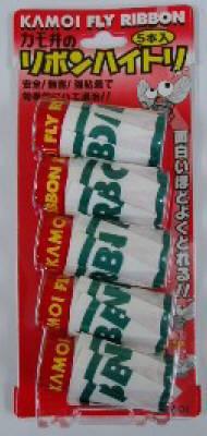 【特価品】カモ井加工紙 リボンハイトリ 5本入 飛んでくるハエを粘着剤で捕まえるハエトリ紙 ( 4971910161289 )