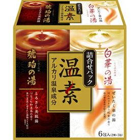 【送料無料・まとめ買い×3】アース製薬 温素 琥珀の湯&白華の湯 詰合せパック 6包 各3包   ×3点セット(4901080555618)