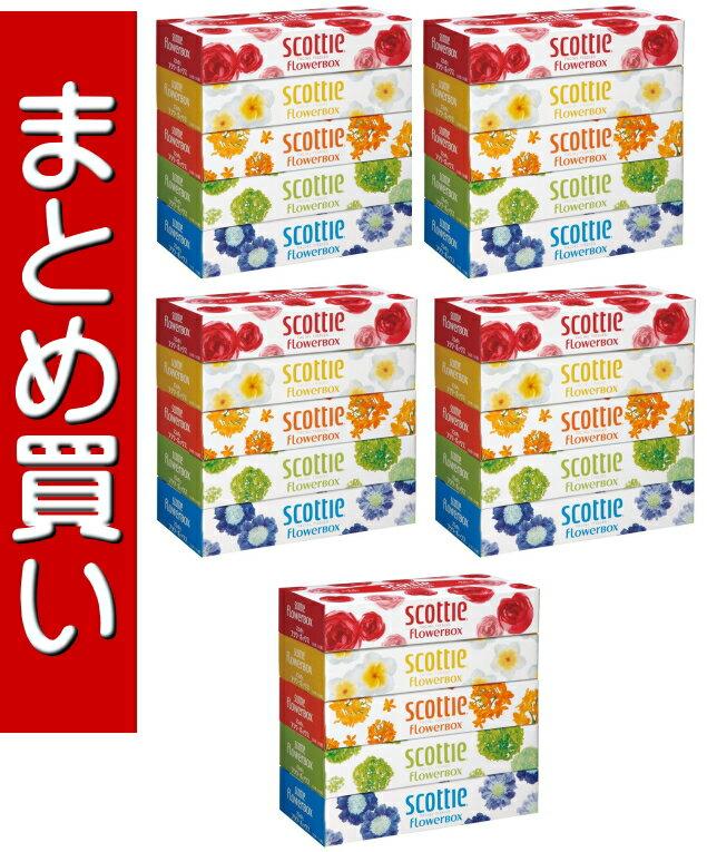 【送料無料・まとめ買い×5】日本製紙クレシア スコッティ ティシュー フラワーボックス 320枚 ( 160組 ) ×5箱パック ×5点セット ( 4901750412555 )