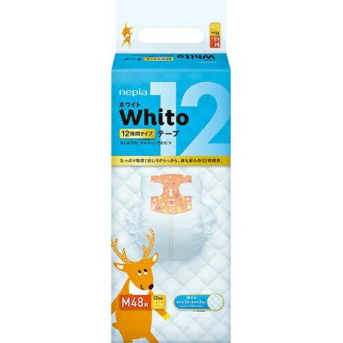 【送料無料・まとめ買い×004】ネピア Whito ホワイトテープ Mサイズ 12時間 48枚×004点セット(4901121527703)