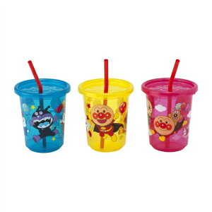 【送料無料・まとめ買い×10】レック アンパンマン ストローカップ 3個入 (3色別柄)