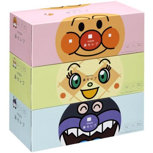 王子ネピア アンパンマン 鼻セレブ ティシュ 360枚(180組)×3個パック 保湿ティッシュ(ローションティッシュ)(4901121626505)※パッケージ変更の場合あり