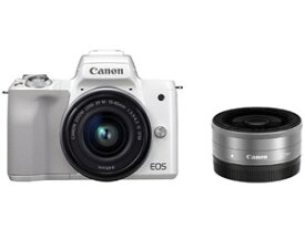 EOS Kiss M ダブルレンズキット [ホワイト] CANON デジタル一眼カメラ【送料無料】【新品】