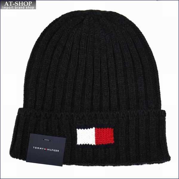 TOMMY HILFIGER トミー・ヒルフィガー 帽子 ニットキャップ h8h73210-015 チャコール Knit Logo Scarf