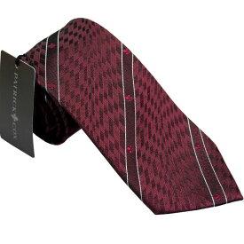 【あす楽】PATRICK COX パトリックコックス ネクタイ 約7.5cm ストライプ柄 ワイン系 PC-002-WINE BOX