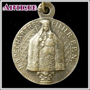 アンティーク♪シャルトル大聖堂の二つの聖母子マリア像と二人の作家のアンティークメダイネックレス、コイン、ペンダントトップ、チャーム、ヴィンテージ、ビンテージ【アンティークメダイ】