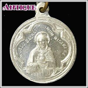 アンティーク♪聖心を指すイエスキリストとスカプラリオを持つカルメル山の聖母子マリアのアンティークメダイネックレス、コイン、ペンダントトップ、チャーム、ヴィンテージ、ビンテージ【アンティークメダイ】
