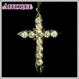 【中古】【未使用品アンティーククロス】クリスタルラインストーンのクロス十字架 真鍮チェーン付きネックレス ペンダント チャーム*