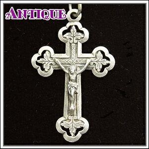 クローバー型アンティーク クロス十字架ネックレス、十字架、ペンダントトップ、チャーム、ヴィンテージ、ビンテージ【アンティーククロス】