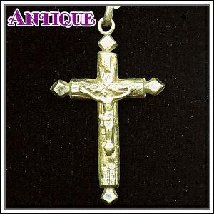 一点物♪打ち出し細工の金古美色アンティーク クロス十字架ネックレス、十字架、ペンダントトップ、チャーム、ヴィンテージ、ビンテージ【アンティーククロス】