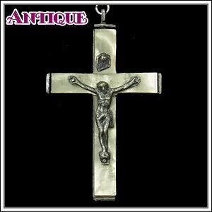 一点物♪乳白色セルロイドのアンティーク クロス十字架ネックレス、十字架、ペンダントトップ、チャーム、ヴィンテージ、ビンテージ【アンティーククロス】