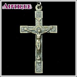 一点物♪バラの花の装飾とキリストのアンティーク クロス十字架ネックレス、十字架、ペンダントトップ、チャーム、ヴィンテージ、ビンテージ【アンティーククロス】