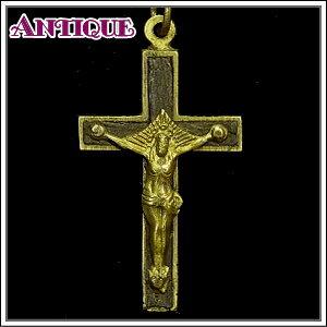 一点物♪ブラスに木製の嵌め込みのアンティーククロス十字架ネックレス、十字架、ペンダントトップ、チャーム、ヴィンテージ、ビンテージ【アンティーククロス】