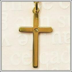 裏面画像【クロス・十字架】18金コーティング・エトワールカットクロス十字架ネックレス♪フランス教会正規品