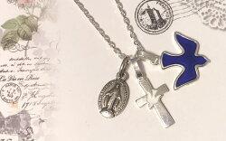 平和の鳩,クロス,十字架,ペンダントトップ,チャーム,サクレクール寺院,正規品,ゴールド,ホワイト,レッド,ブルー,シルバー,パリ,マドレーヌ寺院,正規品