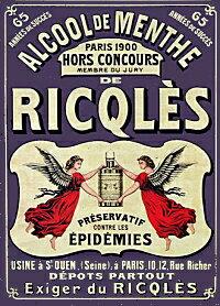 ペパーミント酒と天使のアルミポスター♪1900年代広告イラスト復刻
