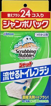 ジョンソン スクラビングバブル 流せるトイレブラシ替え ジャンボパック 24個入り 1個 (トイレ掃除用ブラシ 付け替え)