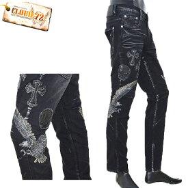 TZ/CDP676CLOUD72(クラウド72)ストレッチデニム スカルイーグル刺繍 クロス BLACK スリムストレート ストレッチ【atrium102】