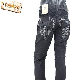 GH/CDP697CLOUD72(クラウド72)ストレッチ クロス羽刺繍 PUフラップポケット BLACKコーティング スリムストレート【atrium102】