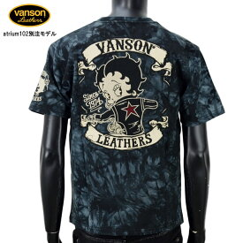 【2019年の新作】vanson(バンソン)×atrium102別注 BETTY BOOPコラボモデル BETTY BOOP刺繍 半袖Tシャツ【atrium102】