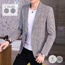 「送料無料」ブレザー メンズ スーツ チェック テーラードジャケット アウター カジュアルスーツ 秋 新作  ブレザー メンズ スーツ チェック テーラードジャケット アウター カジュアルスーツ(suit46)