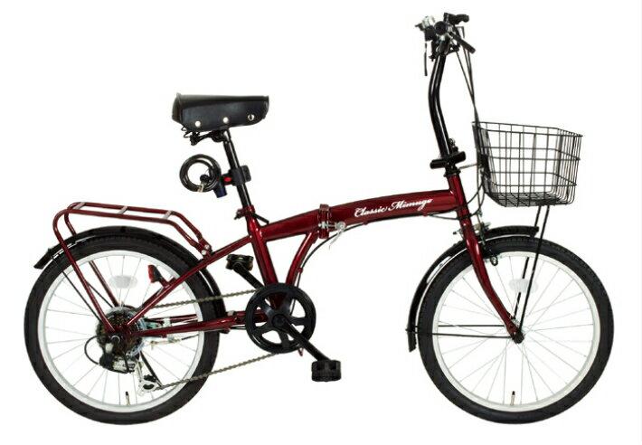 Classic Mimugo / クラッシック ミムゴ FDB20 6S OP 20インチ 折畳み自転車 クラシックレッド メーカー直送 代引・日時指定不可 北海道・沖縄・離島配送不可