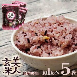 美人玄米 玄米 国産 黒米 玄米 大豆 無洗米 食物繊維 アントシアニン イソフラボン 1kg 5袋 4982466008119 bige8119-5