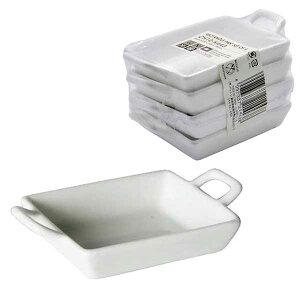 ダルトン RECTANGLE PAN SET OF 4 レクタングル パン 4個セット セラミック製 小皿 ディップ皿 薬味入れ ソース入れ ミニ シンプル ホワイト