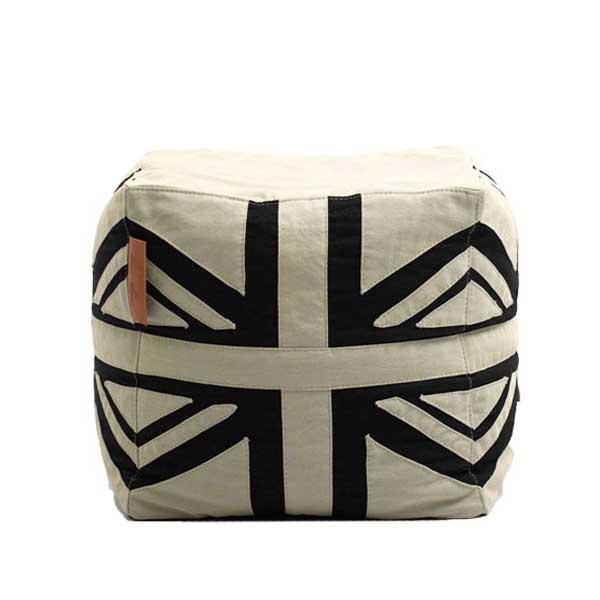 Lazy Bag ビーズクッションスツール 159-BB ユニオンジャック カバーリング ホワイト/ブラック