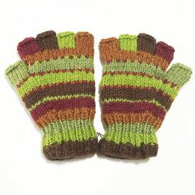 裏フリース カラフルニット グローブ〈ブラウン&グリーン〉 ウール100% ネパール製 手袋 エスニック雑貨 アジアン雑貨【送料無料】 ボーダー柄