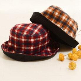タータンチェック ボア リバーシブル バケット ハット 〈ワイン キャメル〉キャップ 綿100% レディース帽子 メンズ帽子 【送料無料】Fillil フィリル 森ガール 山ガールに