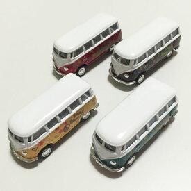 ワーゲン バス ミニ ミニカー ラブ&ピース〈イエロー/レッド/グリーン/ブラウン〉【ハワイアン雑貨】【リゾート雑貨】ワーゲン クラッシック バス プルバックカー LOVE&PEACE