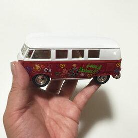 ワーゲンバスミニカー ラブ&ピースL〈イエロー/レッド/グリーン〉【ハワイアン雑貨】【インテリア雑貨】LOVE&PEACEワーゲンクラッシックバス プルバックカー