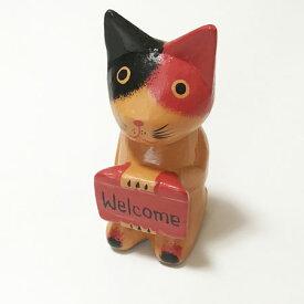 ウェルカム ボード 三毛猫 木彫りオブジェ 【アジアン雑貨】雑貨 バリねこ WELCOM 招き猫