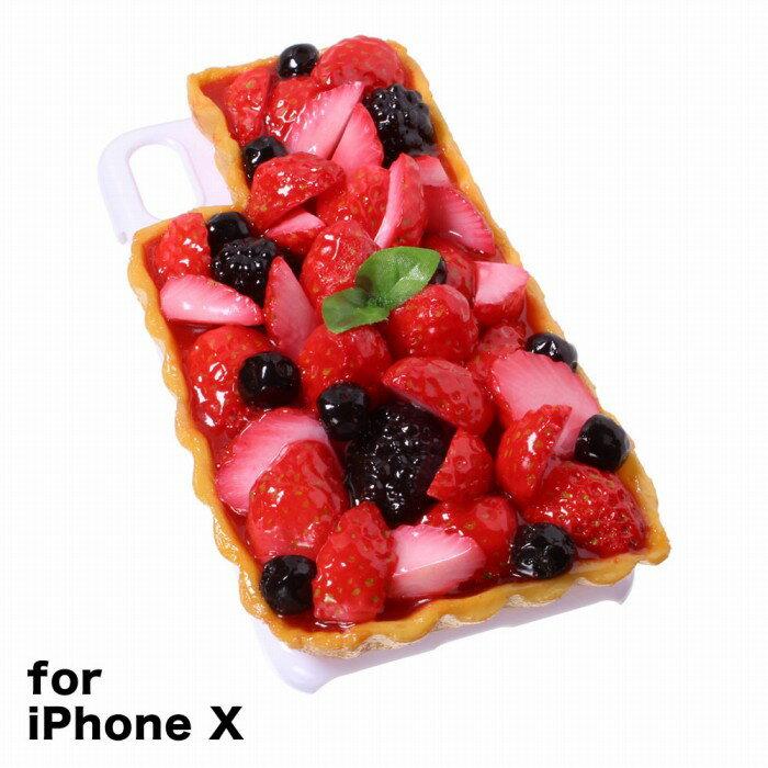 【メール便不可】食品サンプル屋さんのスマホケース(iPhone X:いちごタルト[ホワイト])食品サンプル iPhone ケース カバー 雑貨 食べ物 スマートフォン