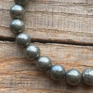 パワーストーン ゴールデンパイライト 5A 高品質 8mm 数珠 ブレスレット シンプル 石 メンズ レディース ファッション パイライト 魔除け 厄除け お守り おしゃれ さ