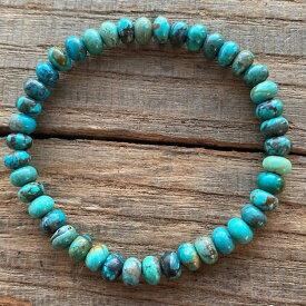 送料無料 ターコイズ ブレスレット トルコ石 インディアンジュエリー ネイティブ ハンドメイド アリゾナ プレゼント シンプル 数珠 メンズ レディース 夏らしい