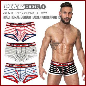 [] 트 래 디 셔널 국경 사각/ZQF-1244 [PINK HERO 분홍색 히어로] [Traditional Border Boxer Underpants] [남성 언더 웨어 속옷 남성용 M L 레드 블루 블랙 화이트 그레이 UnderWear 정품]