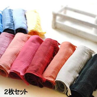 ◆ Japan natural linen /ICE UV cut and warm muffler Qty. 2 ◆ unisex ladies mens